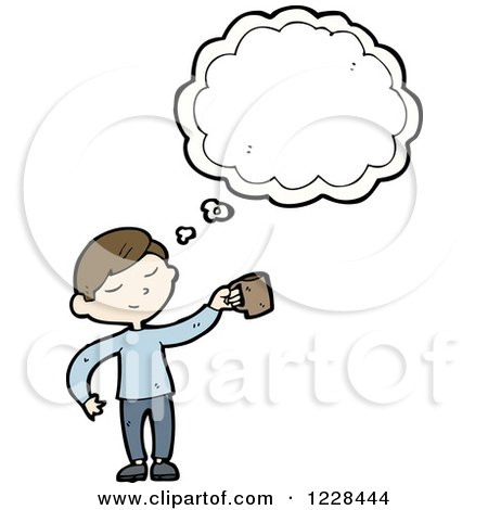 Clipart of a Thinking Man with a Coffee Mug - Royalty Free Vector Illustration by lineartestpilot