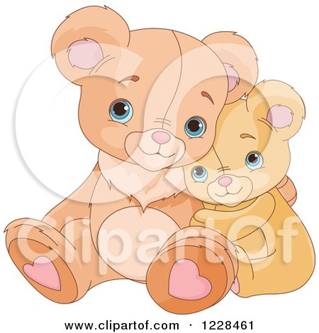 Clipart of Cute Teddy Bears Cuddling and Hugging - Royalty Free Vector Illustration by Pushkin