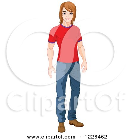 Clipart of a Casual Young Man Standing in a T Shirt and Jeans - Royalty Free Vector Illustration by Pushkin
