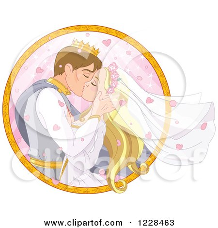 Clipart of a Fairy Tale Wedding Prince and Princess Couple Kissing in a Circle - Royalty Free Vector Illustration by Pushkin