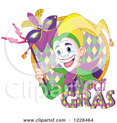 Clipart of a Happy Mardi Gras Jester Holding a Mask in a Circle, with Text - Royalty Free Vector Illustration by Pushkin