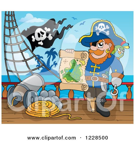 Clipart of a Pirate Captain on Deck, Holding a Treasure Map - Royalty Free Vector Illustration by visekart