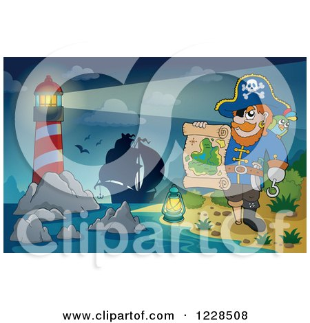 Clipart of a Lighthouse Ship and Pirate Captain with a Map at Night - Royalty Free Vector Illustration by visekart