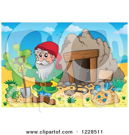 Clipart Mining Cave Entrance With Rails And A Sign - Royalty Free Vector Illustration ...