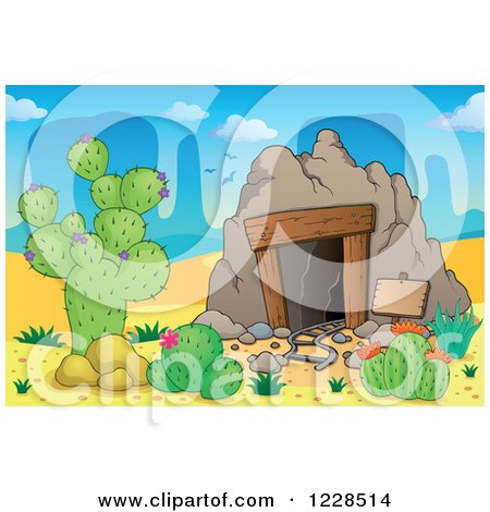 Clipart of a Desert Mining Cave - Royalty Free Vector Illustration by visekart