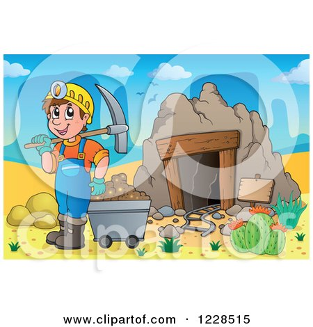 Clipart of a Man with a Cart and Pickaxe at a Desert Mining Cave - Royalty Free Vector Illustration by visekart