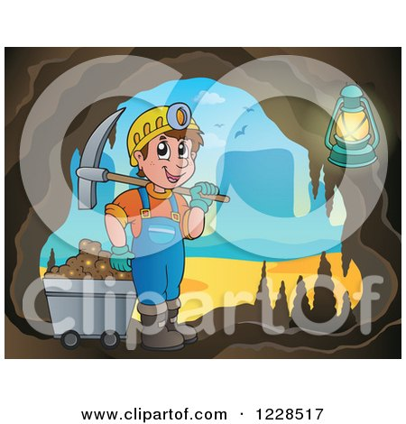 Clipart of a Man with a Cart and Pickaxe in a Mining Cave - Royalty Free Vector Illustration by visekart