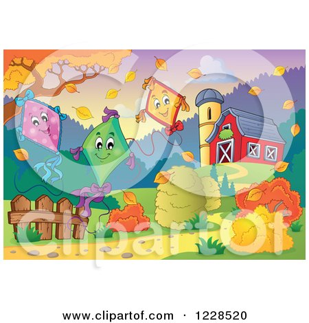 Clipart of Happy Kites Floating over an Autumn Farm - Royalty Free Vector Illustration by visekart