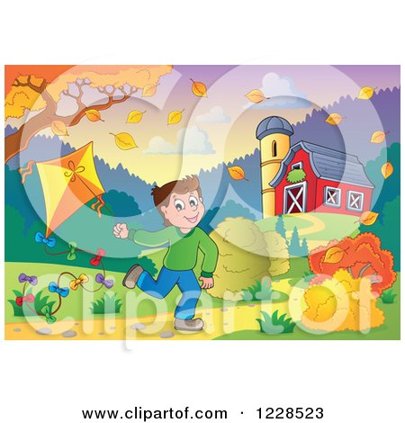 Clipart of a Boy Playing with a Kite by a Barn in Autumn - Royalty Free Vector Illustration by visekart