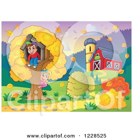 Clipart of a Boy and Girl Playing at a Tree House by a Barn in Autumn - Royalty Free Vector Illustration by visekart
