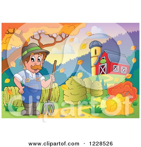 Clipart of a Male Farmer with a Pitchfork and Hay by a Barn in Autumn - Royalty Free Vector Illustration by visekart