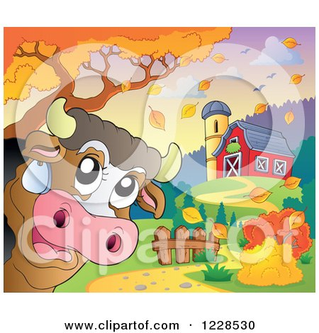 Clipart of a Happy Cow near a Barn in Autumn - Royalty Free Vector Illustration by visekart