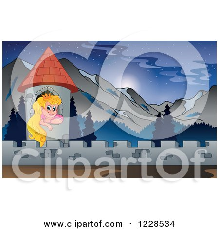 Clipart of a Princess in a Castle Tower in the Mountains - Royalty Free Vector Illustration by visekart