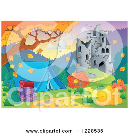 Clipart of a Castle in Ruins and Autumn Landscape with a Tent - Royalty Free Vector Illustration by visekart