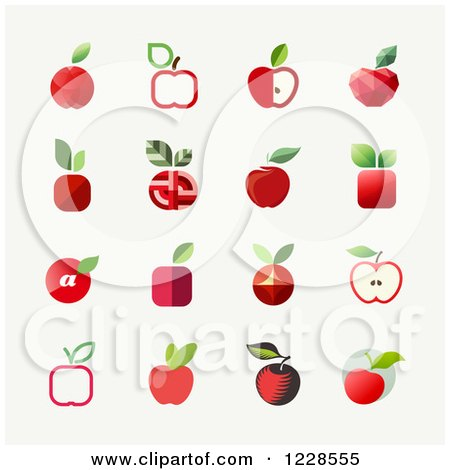 Clipart of Red Apple Icons - Royalty Free Vector Illustration by elena