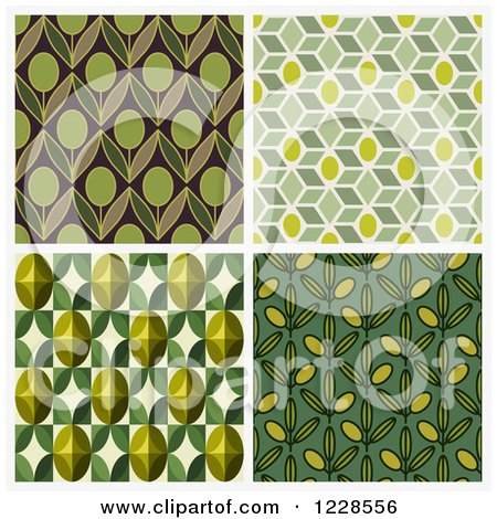 Clipart of Seamless Green Olive Pattern Backgrounds - Royalty Free Vector Illustration by elena