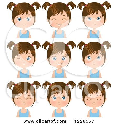 Clipart of Poses of a Brunette Girl in Pigtails - Royalty Free Vector Illustration by Melisende Vector