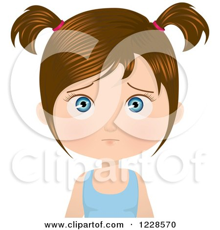 Clipart of a Confused Brunette Girl in Pigtails - Royalty Free Vector Illustration by Melisende Vector