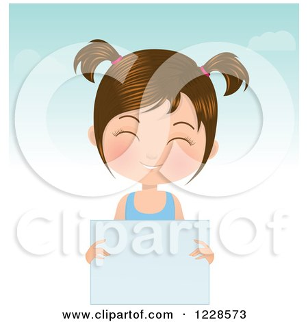 Clipart of a Happy Brunette Girl in Pigtails, Holding a Sign - Royalty Free Vector Illustration by Melisende Vector