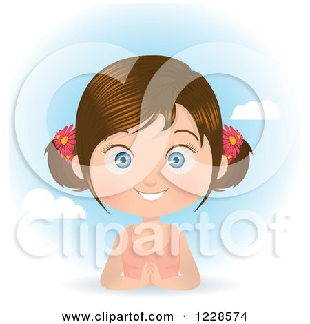 Clipart of a Happy Brunette Girl in Pigtails, over a Spring Time Sky - Royalty Free Vector Illustration by Melisende Vector