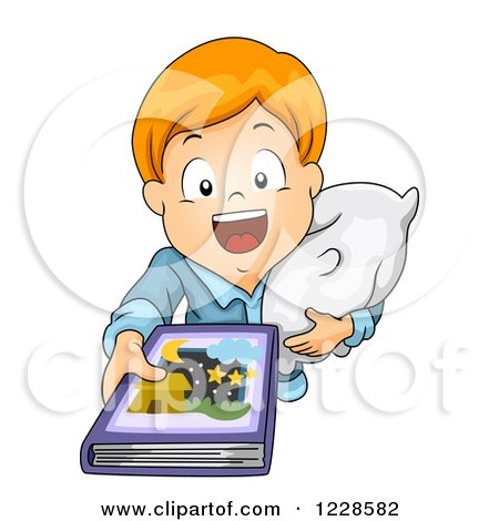 Clipart of a Red Haired Caucasian Boy Holding up a Story Book at Bed Time - Royalty Free Vector Illustration by BNP Design Studio