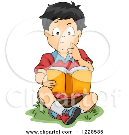 Clipart of a Thoughtful Asian Boy Reading a Book Outside - Royalty Free Vector Illustration by BNP Design Studio