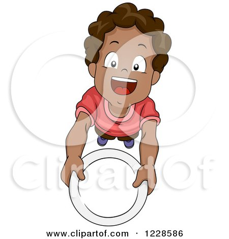 Clipart of a Hungry African American Boy Holding up a Plate - Royalty Free Vector Illustration by BNP Design Studio