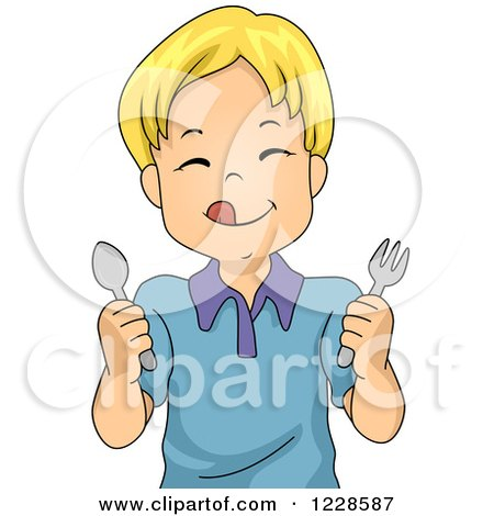 Clipart of a Hungry Blond Caucasian Boy Holding Silverware - Royalty Free Vector Illustration by BNP Design Studio