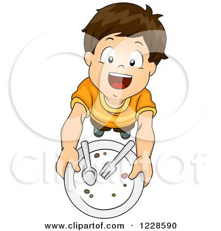 Clipart of a Happy Brunette Caucasian Boy Holding up a Clean Plate and Wanting More - Royalty Free Vector Illustration by BNP Design Studio