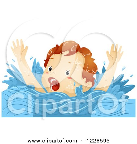 Clipart of a Caucasian Boy Screaming for Help While Drowning - Royalty Free Vector Illustration by BNP Design Studio