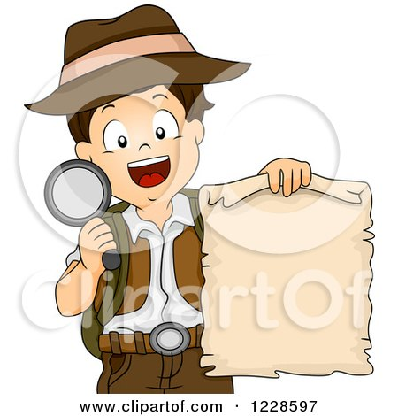 Clipart of a Happy Boy Holding a Treasure Map and Magnifying Glass - Royalty Free Vector Illustration by BNP Design Studio