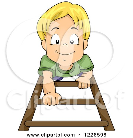 Clipart of a Happy Blond Caucasian Boy Climbing up a Ladder - Royalty Free Vector Illustration by BNP Design Studio