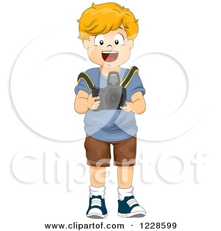Clipart of a Happy Caucasian Boy Using a Camera - Royalty Free Vector Illustration by BNP Design Studio