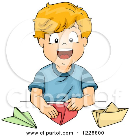 Clipart of a Happy Caucasian Boy Making Paper Boats and Planes - Royalty Free Vector Illustration by BNP Design Studio
