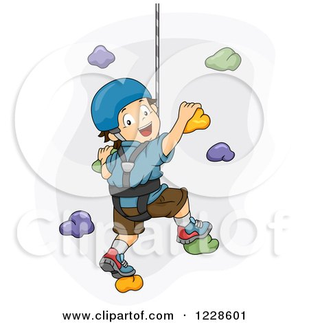 Clipart of a Young Blond Caucasian Woman Rapelling down ...