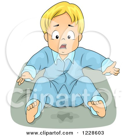Clipart of a Shocked Blond Boy Wetting His Bed - Royalty Free Vector Illustration by BNP Design Studio