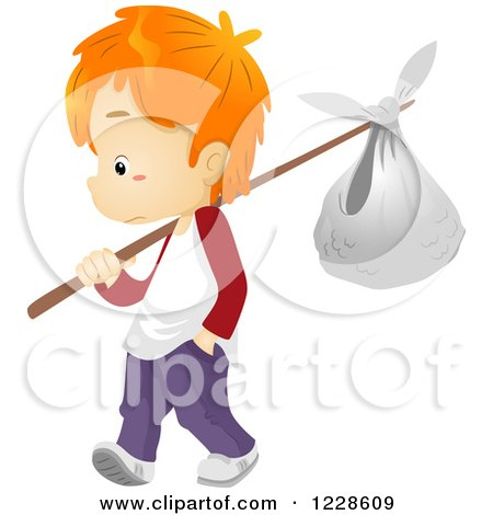 Clipart of a Red Haired Runaway Boy with a Bundle - Royalty Free Vector Illustration by BNP Design Studio