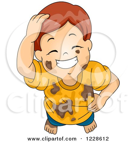 Clipart of a Grinning Red Haired Caucasian Boy in Muddy Clothes - Royalty Free Vector Illustration by BNP Design Studio