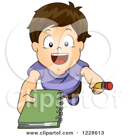 Clipart of a Brunette Caucasian Boy Asking for an Autograph - Royalty Free Vector Illustration by BNP Design Studio