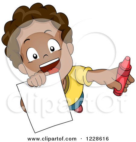 Clipart of a Happy African American Boy Asking for Help Coloring - Royalty Free Vector Illustration by BNP Design Studio