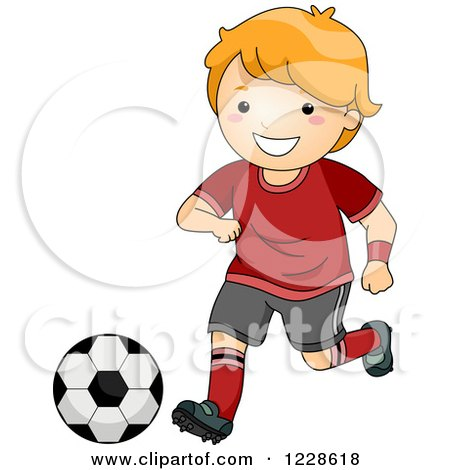 Clipart of a Happy Red Haired Caucasian Boy Playing Soccer - Royalty Free Vector Illustration by BNP Design Studio