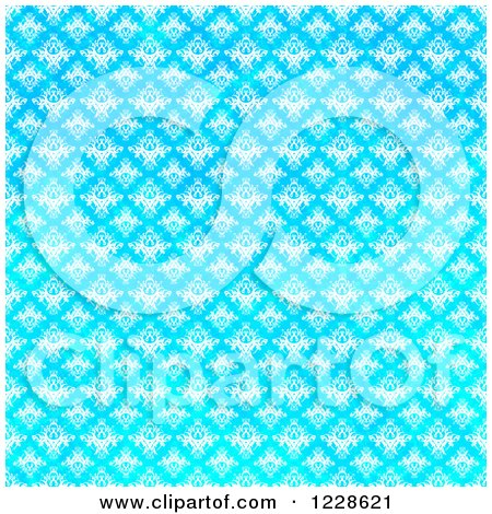 Clipart of a Seamless Bright Gradient Blue Damask Background - Royalty Free Illustration by Arena Creative