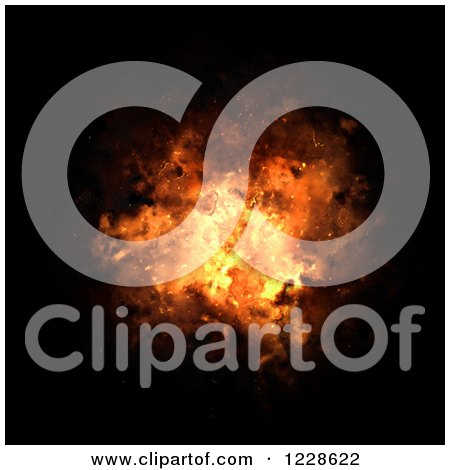 Clipart of a Fliery Explosion Bursting over Black - Royalty Free Illustration by Arena Creative