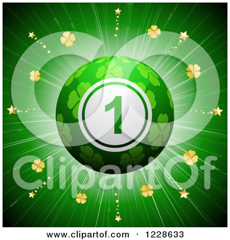 Clipart of a 3d Lucky Shamrock St Patricks Day Bingo Ball over a Burst - Royalty Free Vector Illustration by elaineitalia