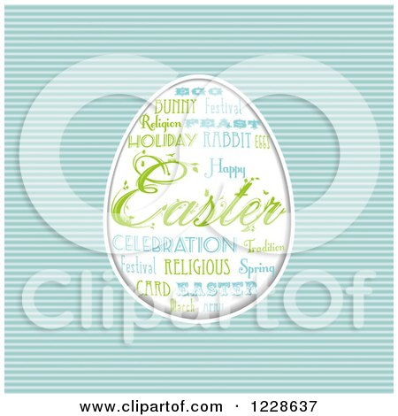 Clipart of an Easter Word Collage Forming an Egg over Blue Stripes - Royalty Free Vector Illustration by elaineitalia