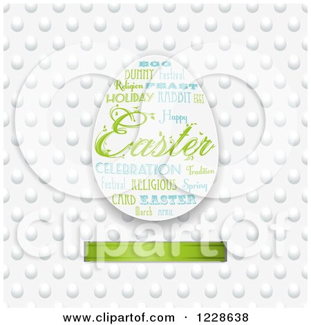 Clipart of an Easter Word Collage Egg over a Pattern and Green Ribbon - Royalty Free Vector Illustration by elaineitalia