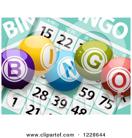 Clipart of 3d Bingo Balls over Cards - Royalty Free Vector Illustration by elaineitalia