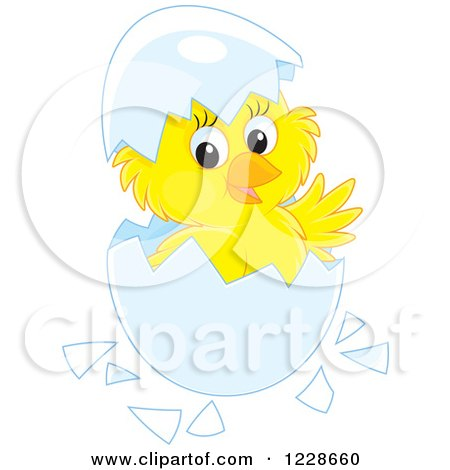 Clipart of a Cute Chick Hatching from an Egg - Royalty Free Vector Illustration by Alex Bannykh