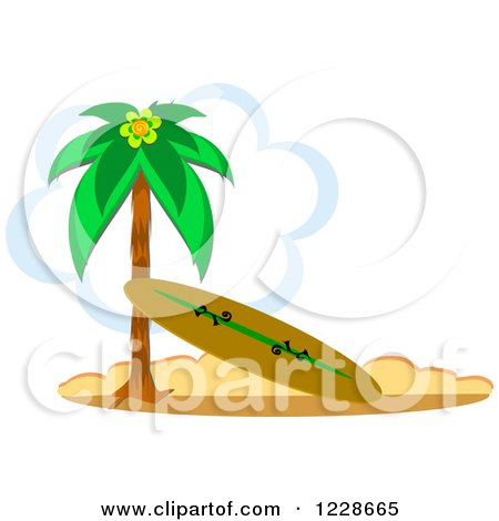 Clipart of a Surfboard Leaning Against a Beach Palm Tree ...