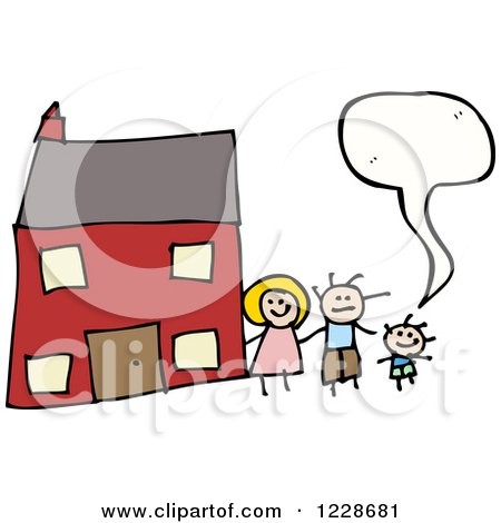 Clipart of a Talking Family by Their Home - Royalty Free Vector Illustration by lineartestpilot